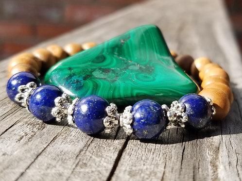 Lapis Lazuli & Wood Aromatherapy Bracelet