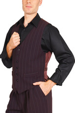 Men's Striped Eggplant Tango Vest With Satin Back  A classic design ideal for argentine tango dancers. It features a six-button fastening, two decorative front pockets and a back strap for an adjustable fit. The back is made from eggplant lining fabric.  Additional details:  - eggplant vest with wide  white stripes - 2 non-functioning front pockets - back made from eggplant satin fabric - 6-button fastening - back adjuster  I lager: Stl. 48, 52    Pris: 1500:-