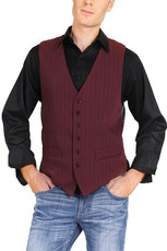Men's Striped Burgundy Tango Vest With Satin Back  A classic design ideal for argentine tango dancers. It features a six-button fastening, two decorative front pockets and a back strap for an adjustable fit. The back is made from silver blue lining fabric.  Additional details:  - burgundy vest with wide  petrol stripes - 2 non-functioning front pockets - back made from silver blue satin fabric - 6-button fastening - back adjuster  I lager: Stl. 46  Pris: 1500:-
