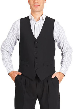 Men's Striped Black Tango Vest With Satin Back  A classic design ideal for argentine tango dancers. It features a six-button fastening, two decorative front pockets and a back strap for an adjustable fit. The back is made from black lining fabric.  Additional details:  - black vest with no stripes - 2 non-functioning front pockets - back made from black satin fabric - 6-button fastening - back adjuster  I lager: Stl. 46, 50  Pris: 1500:-