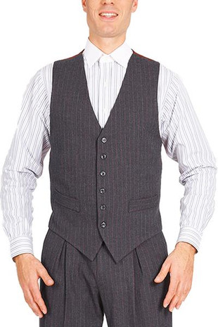 Men's Striped Gray Tango Vest With Satin Back  A classic design ideal for argentine tango dancers. It features a six-button fastening, two decorative front pockets and a back strap for an adjustable fit. The back is made from burgundy lining fabric.  Additional details:  - gray vest with wide burgundy stripes - 2 non-functioning front pockets - back made from burgundy satin fabric - 6-button fastening - back adjuster  I lager: Stl. 50, 54  Pris: 1500:-