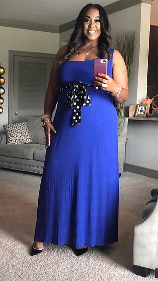 Pretty Blue Dress w/ black and white belt only