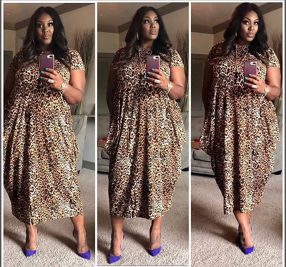 All Cheetah Dress  - One Size Fits Up to 2X