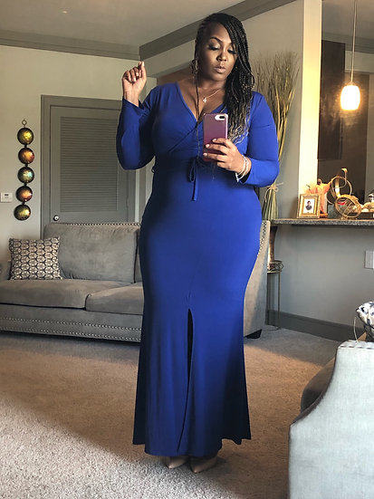 Blue Fitted Maxie Dress