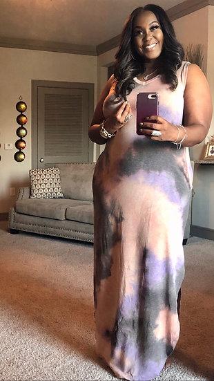 Dye Jersey Maxie Dress Mauve Grey