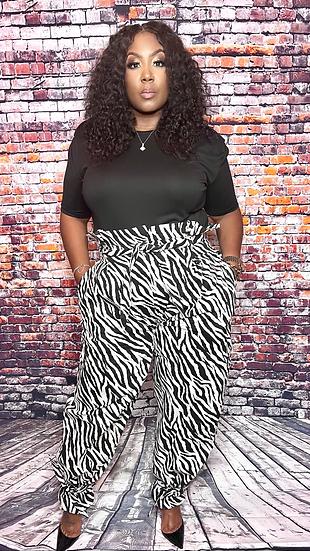 Zebra Print Baggy Pants