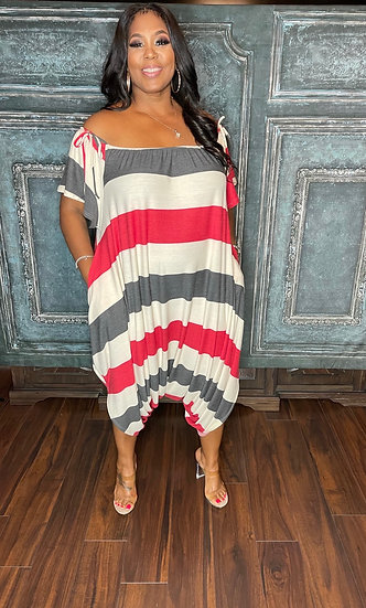 Oversized Striped Jumpsuit (Red)