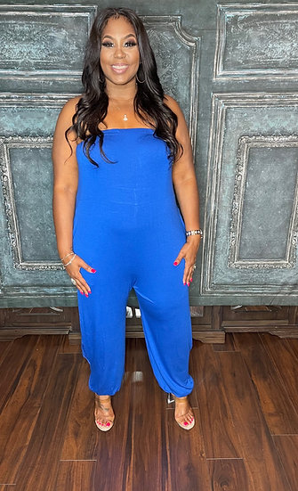 Cute and Simple Tube Jumpsuit (Royal Blue)