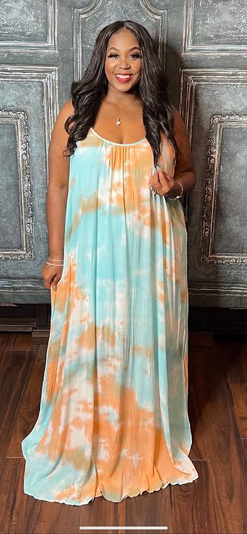 Strappy Maxi Dress (Blue Mix)
