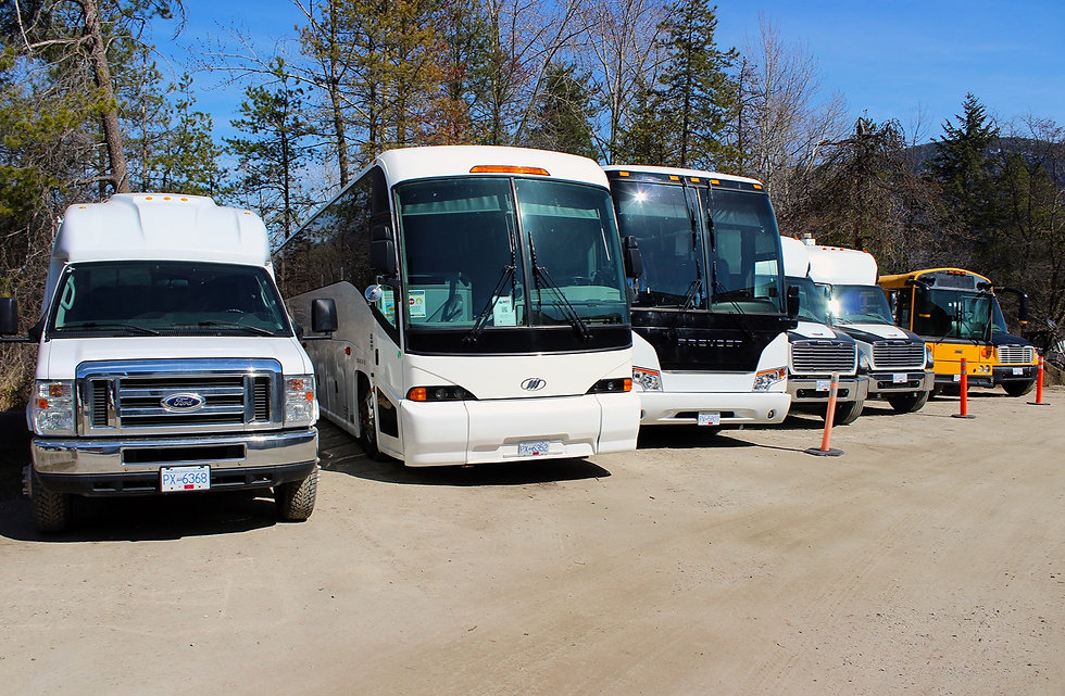 Our Fleet of Coach Buses, Passenger Vans, School Buses available for Charters