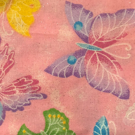 Multi Color Butterflies on Pink (Glitter)
