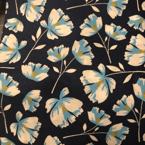 White and Blue Flowers on Navy