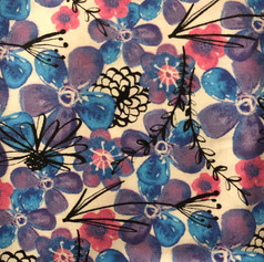 Blue, Purple, Pink Flowers on White