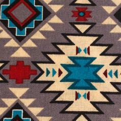 Tribal Blanket - Blue, Maroon, Beige in Grey