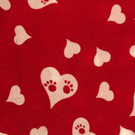 Paw Prints Inside Hearts on Red