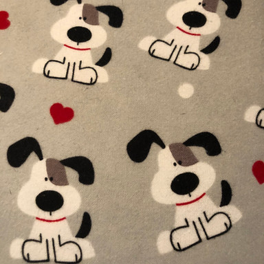 Puppies, Red Hearts, White Dots on Grey