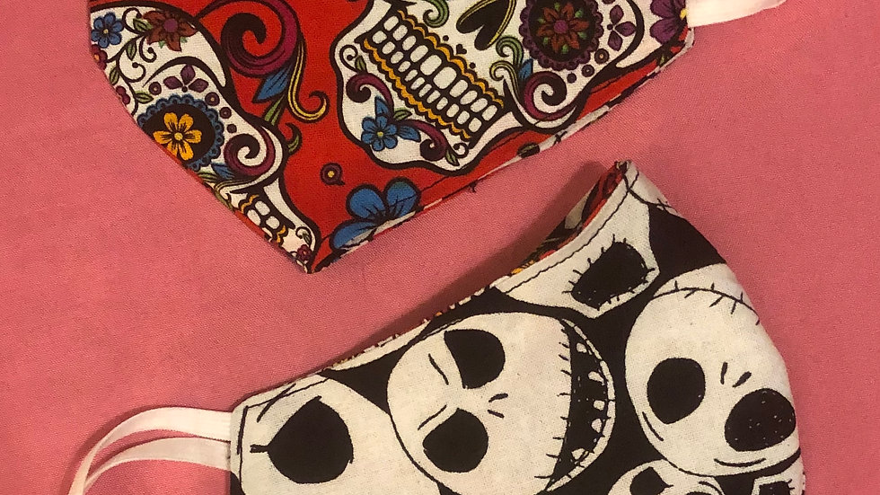 Sugar Skulls on Red/Jack Skellington