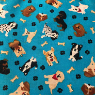 Dogs, Bones, Paw Prints on Blue
