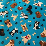 Dogs, Bones, Paw Prints on Blue