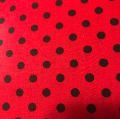 Black Polka Dots on Red