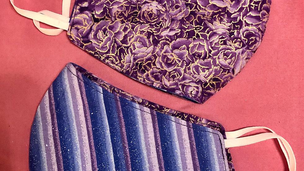 Purple Flowers Trimmed in Gold/Blue and Purple Stripe (Glitter)