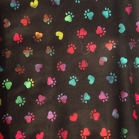 Tie Dye Paw Prints and Hearts on Black