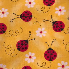 Red Lady Bugs on Yellow
