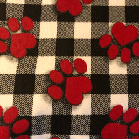 Red Paw Prints on Black Checkerboard