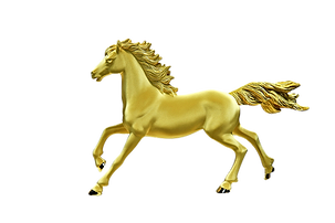 Golden horse statue isolated on white ba