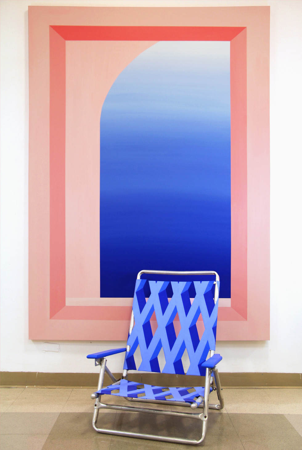 """Mack Sikora, I Told My Grandma About You; [Self Portrait in Blue (chair)], 2019, Acrylic and Flashe on canvas; [acrylic and flashe on canvas, metal and wood chair frame, adhesive and chip board], 5'x7' [22""""x35""""x25""""]"""