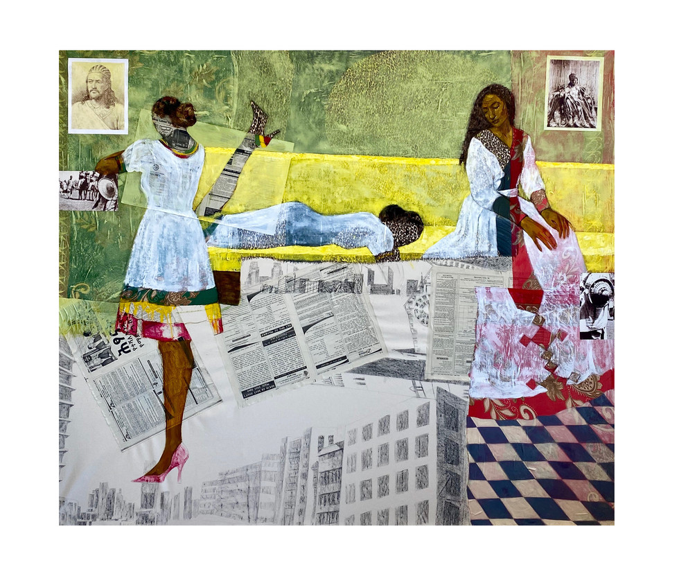 "Hana Yilma Godine, Adwa, 2020, Oil, collage, charcoal, fabric on canvas, 56""x97"""