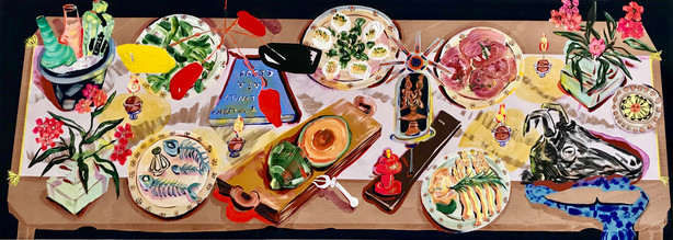 """Kate Pincus-Whitney, Theater of the Dinner Table: La Colombe D'or, 28""""x78""""Acrylic and Polycolor on Wooden Door with Carving, Date: 03/07/2020"""