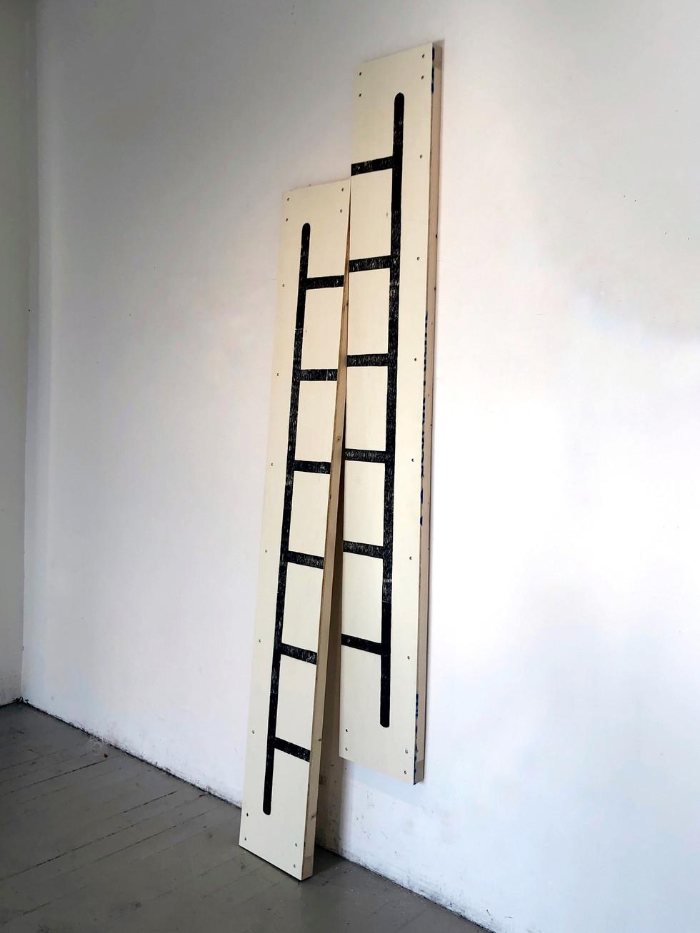 McKinzie Trotta, untitled (two-way ladder), 2019, Screenprint on wood, 2'x7'