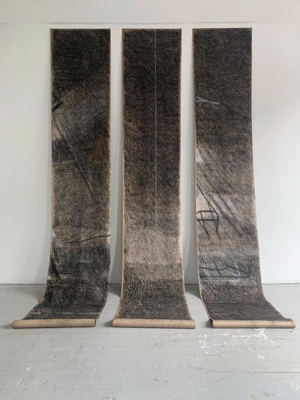 "Tongji Philip Qian, JoE, 2019, Charcoal on paper, each scroll 30""x15'"