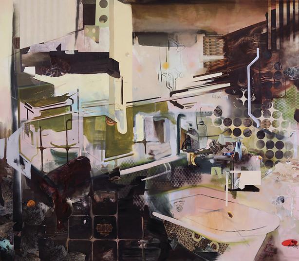 "Emily Somoskey, Bedrock, 2019, Oil and collaged digital prints, 84""x96"""