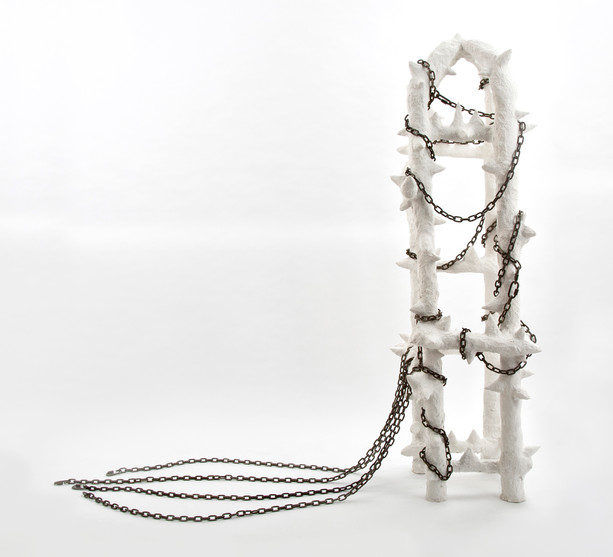 """Jackie Slanley, Statues Also Die, 2019, Paper pulp and metal chains, 68"""" x 75"""" x 19"""""""