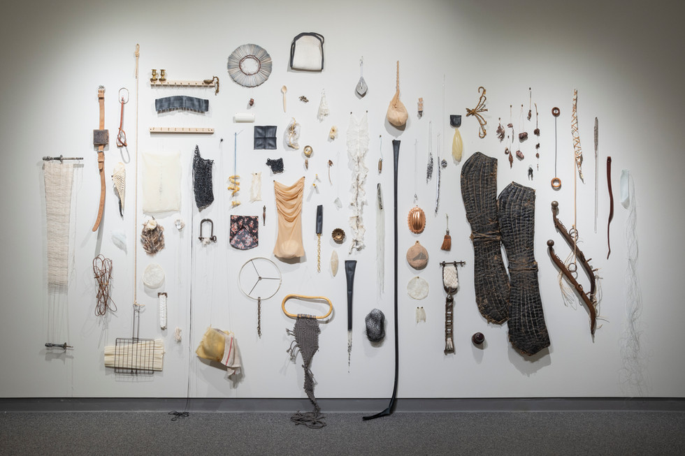 """Sophia Ruppert, Nokomis Fragments, 2019-ongoing, 156x97x7"""", found and altered objects"""