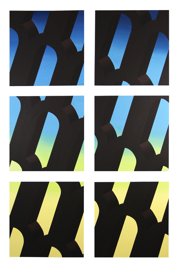 "Mack Sikora, It's Okay, I've Compartmentalized U, 2019, Acrylic and Flashe on board, 50""x75"" (6 individual panels at 23""x23"" each)"