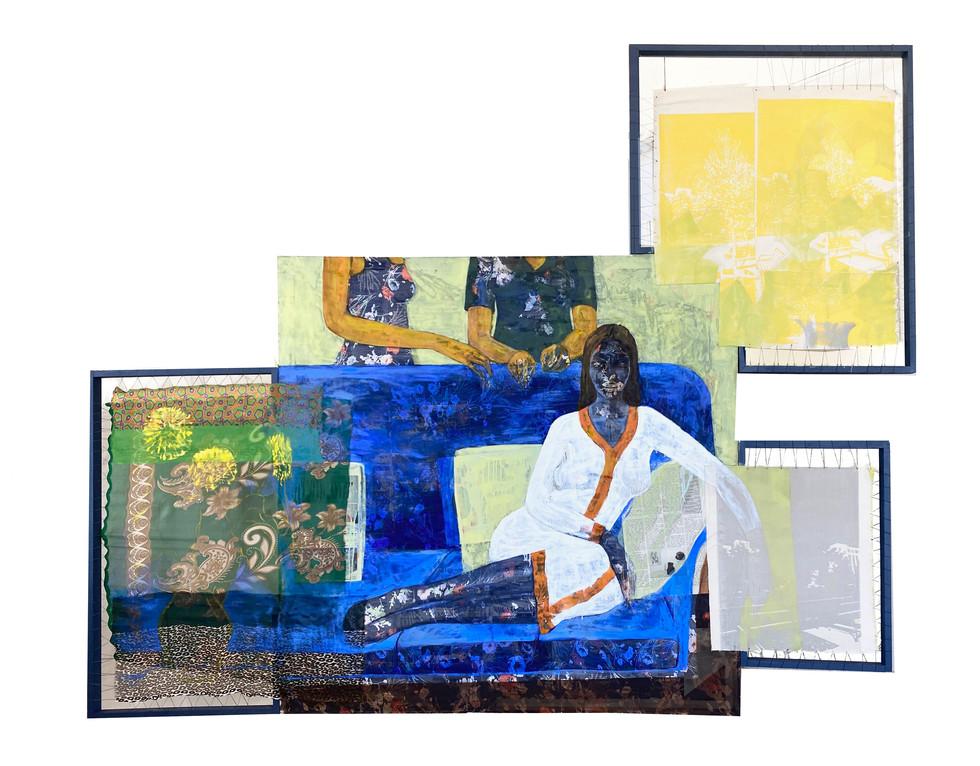 "Hana Yilma Godine, Addis Ababa, Oil, collage, silkscreen on canvas and fabric, 76""x97"""