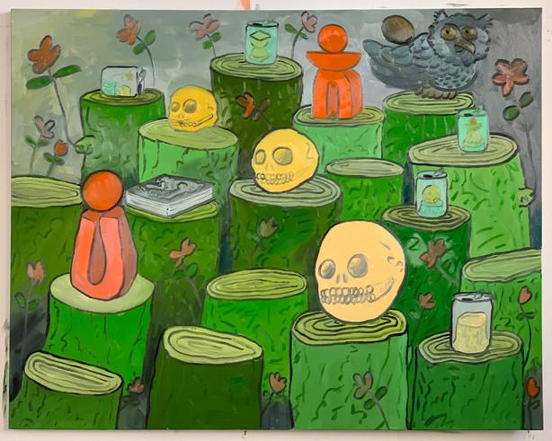 """Matt Jones, 18 Tree Stumps, 2020, Oil on canvas, 50""""x60"""""""