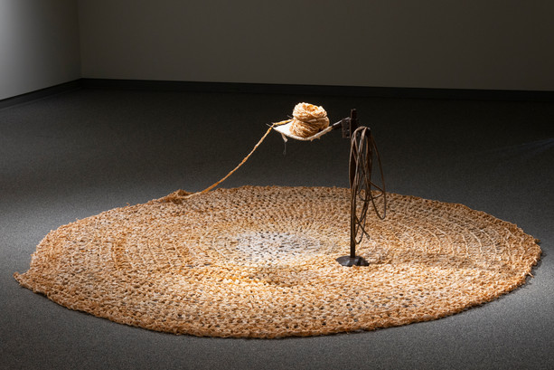Sophia Ruppert, Domiciliary Apparatus, 2020, Pitchfork, jack stand, cotton, rust, 96x25x96""