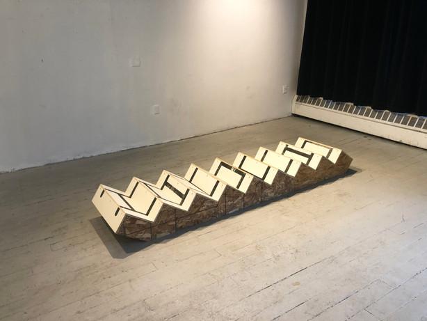 McKinzie Trotta, untitled (step-ladder), 2019, Screenprint on wood, 2'x9'x1'