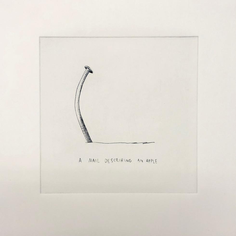 "McKinzie Trotta, A nail describing an apple, 2019, Copperplate engraving, 10""x10"""