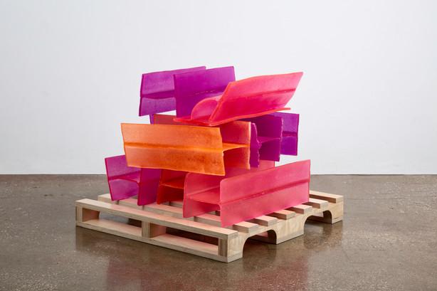 "Josh Meillier, Structural Integrity (vii), 2019, Resin cast, birch plywood, 25""x25""x25"""