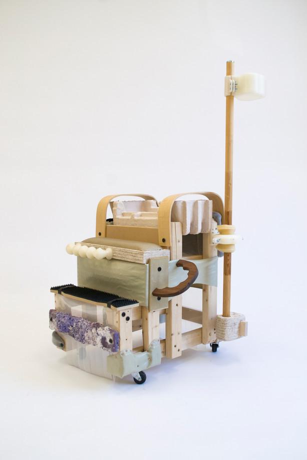 "E. Winslow Funaki, Untitled (Cupholder), 2019, Wood, OSB, MDF, plastic, rubber, foam, vinyl, fabric, Aquaresin,  28x33x50"""