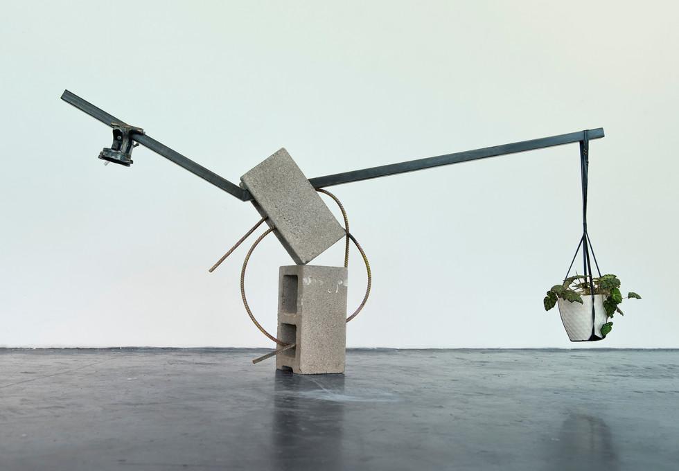 "Josh Meillier, Untitled (Situation ii), 2019, Cinder blocks, steel, rebar, patina, spray paint, vice, leather plant hanger, ceramic pot, potting soil and eyelash begonia 84""x50""x8"""