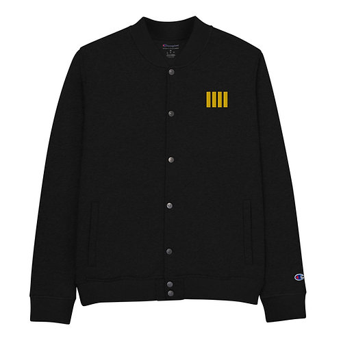 4 Stripe Epaulettes Embroidered Bomber Jacket