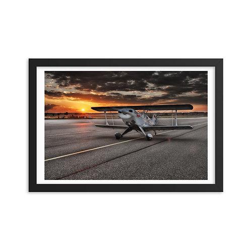 'Biplane at Dusk' Framed poster