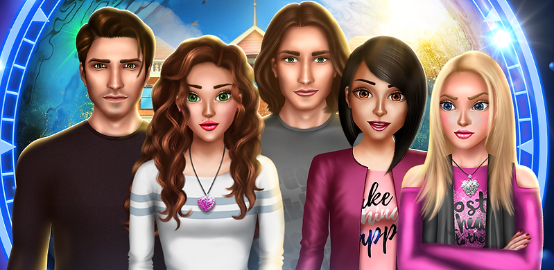 One of the feature graphics of Time Travel Romance Game, showing the Main Character with curly hair and her friends: Chris, Will, Emma and Sophie.