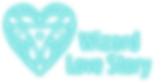 The PNG image of the logo of Wizard Love Story Games consists of a futuristically shaped heart and the name of the game written in white letters with light blue stroke.